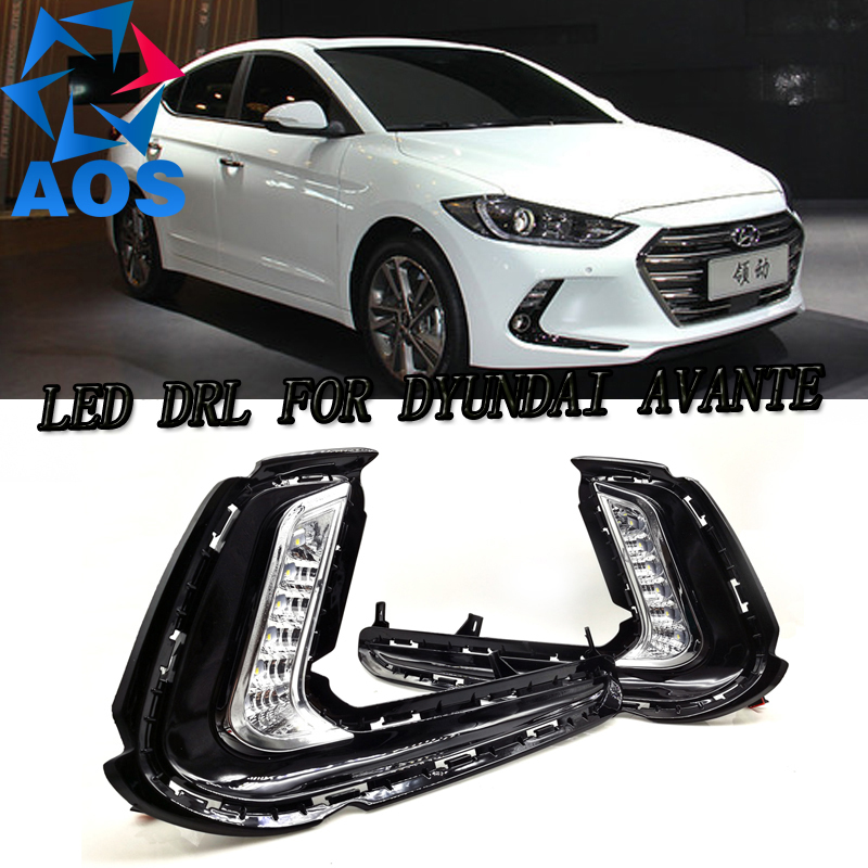 2PCs/set DRL for Hyundai Elantra Avante 2016 2017 NEW style LED Daylight Daytime Running Lights waterproof LED daytime running