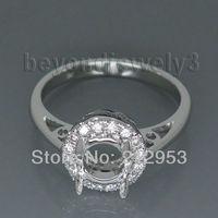 Винтаж Круглый 6 мм Полу комплект белого золота 18 К кольцо для Обручение g090324
