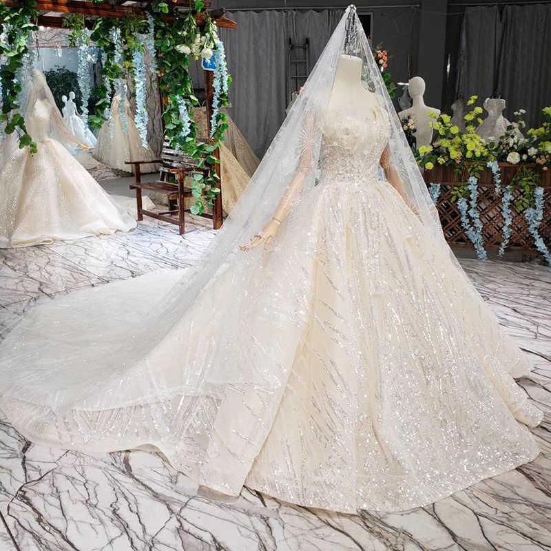 HTL388 בודהה מיוחד סטרפלס חתונת שמלה עם רעלה שרוולים סקסי נסיכת כלה שמלות מבריק robe de mariage 2019