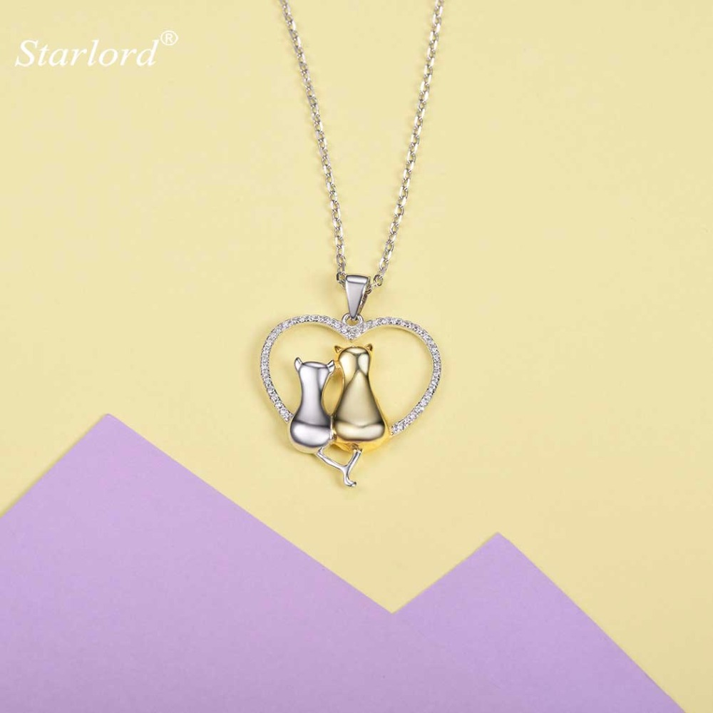 925 Sterling Silver Cat in Heart Necklace AAA Cubic Zirconia Two Tone Double Cats Love Heart Necklace Valentines Gift P6007B