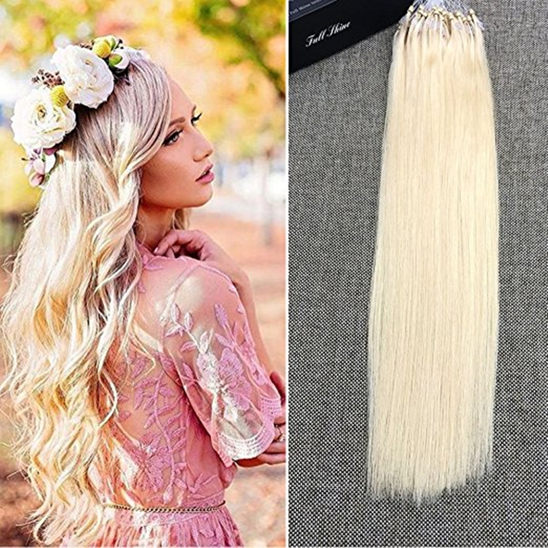 Full Shine High Quality Micro Ring Loop 100 Cabello Humano 1g/s Color #613 Brazilian Hair Extensions Straight Remy Human Hair
