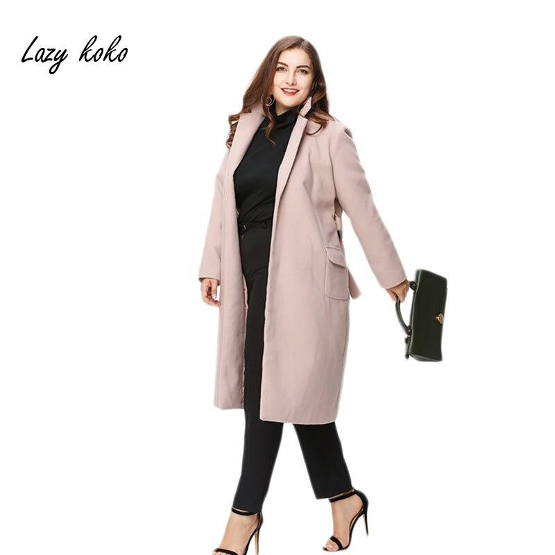 Lazy Koko Plus Lapel Long Coat Belted Pocket Winter Autumn Warm Coats Ladies Elegant Slim Fashion Jacket Outwear 3XL 4XL 5XL 6XL