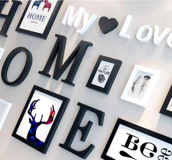 Nordic Style 9PCS/set Wooden Photo Frame Picture Frame with Home Letters Pattern For Wall Decoration Creative Frame Combination
