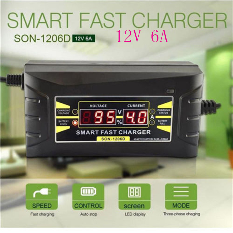 Car Battery Charger Full Automatic 110V/220V To 12V 6A 10A Smart Fast Power Charging For Wet Dry Lead Acid Digital LCD Display