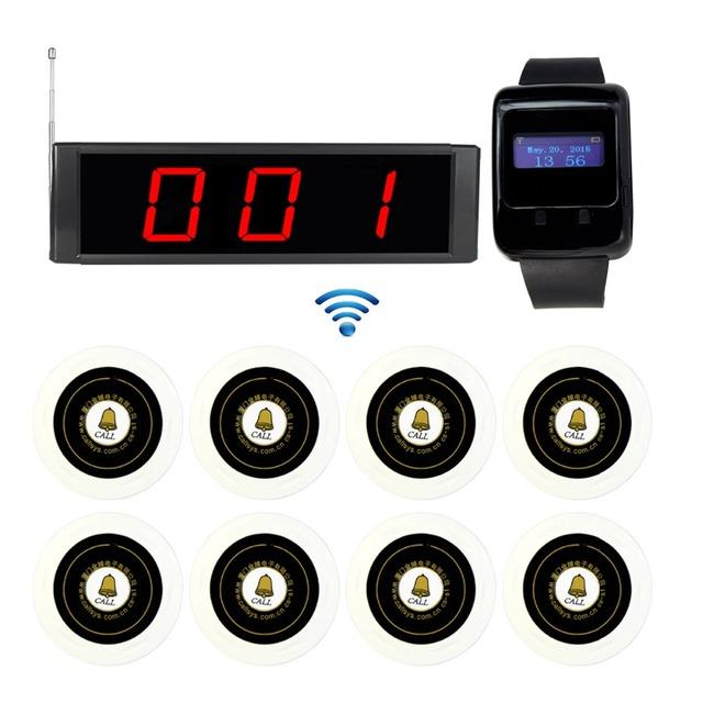 433 MHz Restaurante Serviço Sem Fio Chamando Sistema de 1 pcs de Transmissão Receptor Anfitrião + 1 pcs Assista Receiver + 8 pcs Botão de chamada F3270