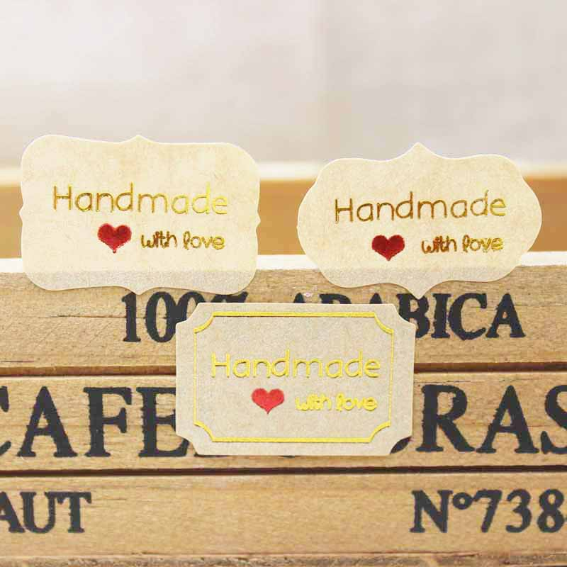 200pcs made with love label stickers diy handmade gold sticker labels pvc transparent thank you gift jewelry cookies label tag in stickers from home