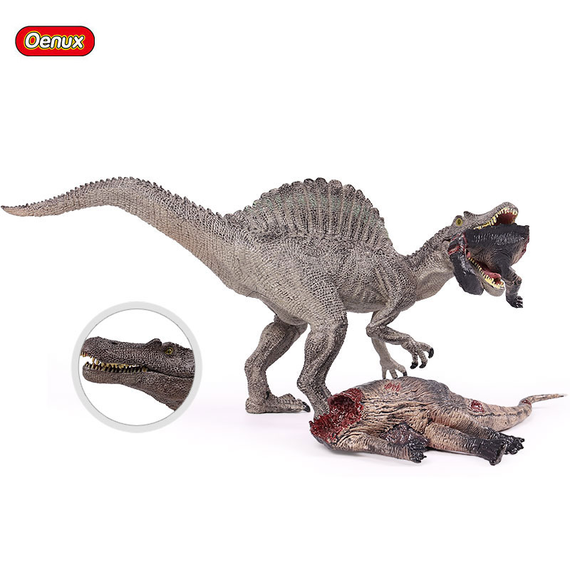 Oenux Jurassic Savage Long Spinosaurus Classic T-Rex Dinosaur Corpse Mouth Can Open Action Figures Figurine Model Collection Toy