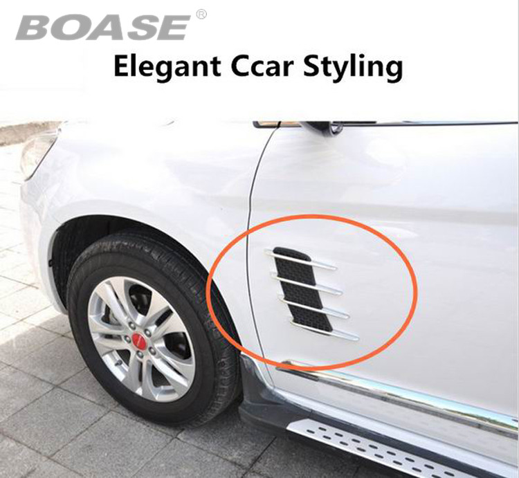 Big Sale Universal Car ABS chromium styling stickers Simulation Vents Decorative Shark Gills Outlet Side Vents free shipping