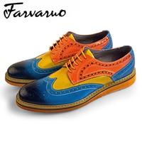 Farvarwo Мужские туфли из натуральной кожи Повседневная Мужская обувь Высокое качество Туфли без каблуков дышащий платье броги Человек Лето шн