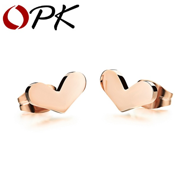 OPK Heart Design Woman Stud Earrings Romantic Rose Gold Color