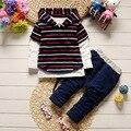2017 primavera conjunto de roupas infantis meninos/meninas de algodão listrado colete + manga longa t-shirt calças de brim terno