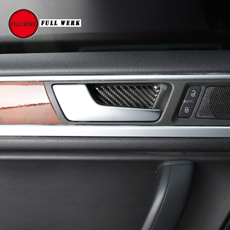1 Set Car Styling Interior Door Handle Bowl Sticker Decoration Cover Trim for VW Touareg 2011-2017 Epoxy Carbon Fiber SS Decor