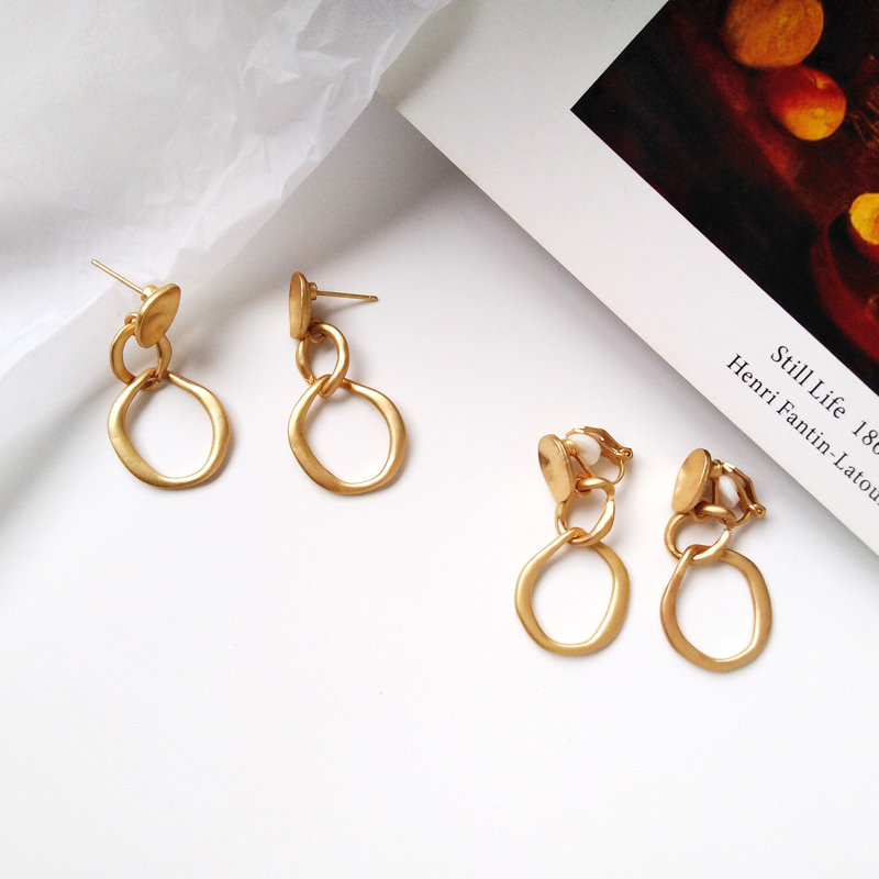 unique new Fashion Earrings Punk Simple Gold Silver Long Section Tassel Pendant Size Circle Earrings For Ladies Gifts Wholesale in Stud Earrings from Jewelry Accessories