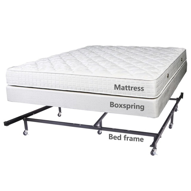 Hlc Full Queen Cal King Adjule 8 Wheel Metal Bed Frame Mattress Foundation With