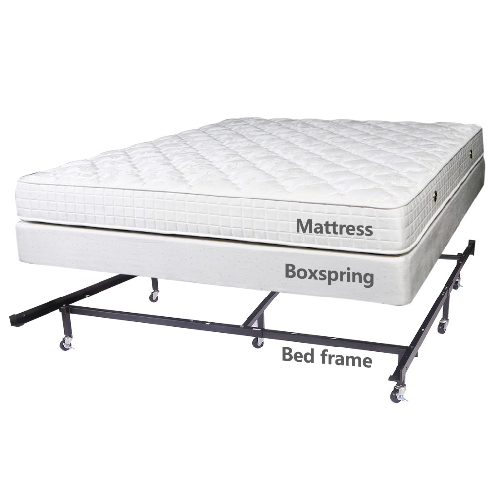 HLC Full Queen Cal King Adjustable 8-wheel Metal Bed Frame/mattress  Foundation with 4 Locking Wheels, Best Xmas Gift