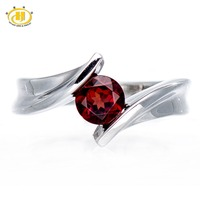 Simple Natural Garnet Solid 925 Sterling Silver Birthstone Ring For Women Lady Jewelry Size 6 7