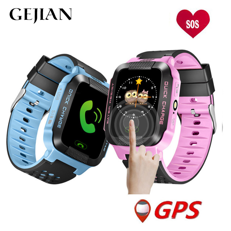 GEJIAN Children's Watch Children's Positioning Mobile Phone 1.22 Inch Color Touch Screen WIFI SOS Call For Help Baby Call Watch