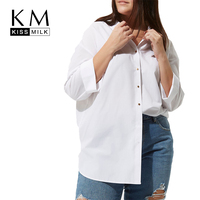 Kissmilk Frauen Plus Größe Taste Unten Aushöhlen Krawatte Zurück Shirt Langarm Feste V-ausschnitt Grund Tops Großen Freizeithemd