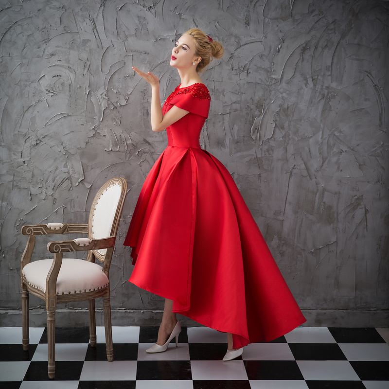 Asymétrique Robe De Soirée robes De grande taille 2018 Luxe Bal Robe Formelle À Manches Courtes Robe De Soirée Formelle Robe De Soirée - 2