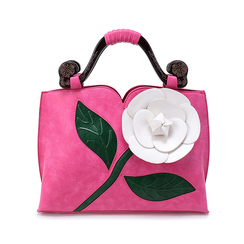 high quality fashion 2017 Women Large Flower Vintage Shoulder   Handbags  Female National elegant  Solid Totes   Lady Hand Bags