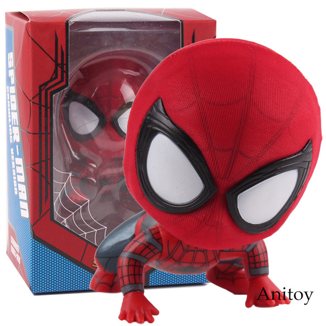 Marvel Spider Man Homecoming The Spiderman Q Version Mini Bobble Head PVC Figures Toys Car Home Decoration Doll 6 StylesAction & Toy Figures