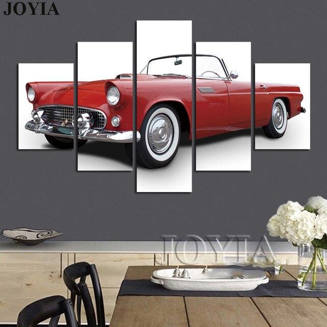5 Pieces Classic Car Wall Art Decor Chevrolet Thunderbird Photo ...