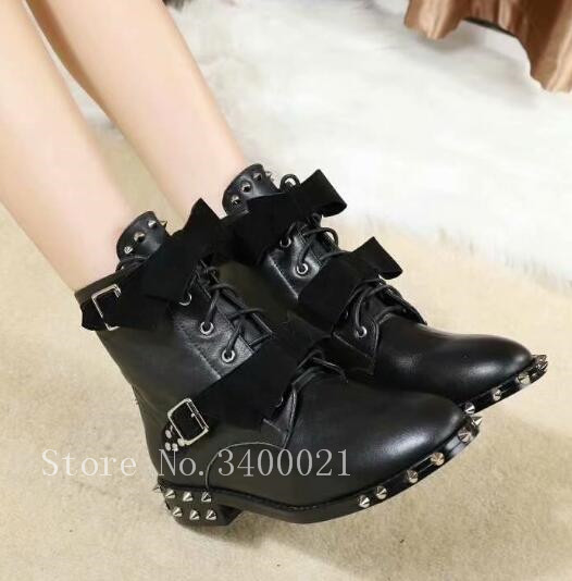 Black Leather Women Boots 2019 knot Lace UP Flats Spikes Rivets Studded Short Ankle Boots Shoes Woman Large size 42 Motorcycle