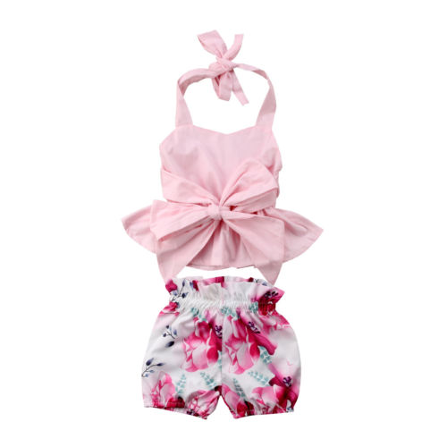 Newborn Kid Baby Girl Clothing Bow-knot Tops T-shirt Vest Halter Floral Shorts 2pcs Cute Summer Clothes Baby Girls 0-24M 2pcs kids baby girls summer outfits lace tops floral shorts pants clothes sets children kid girl cute clothing