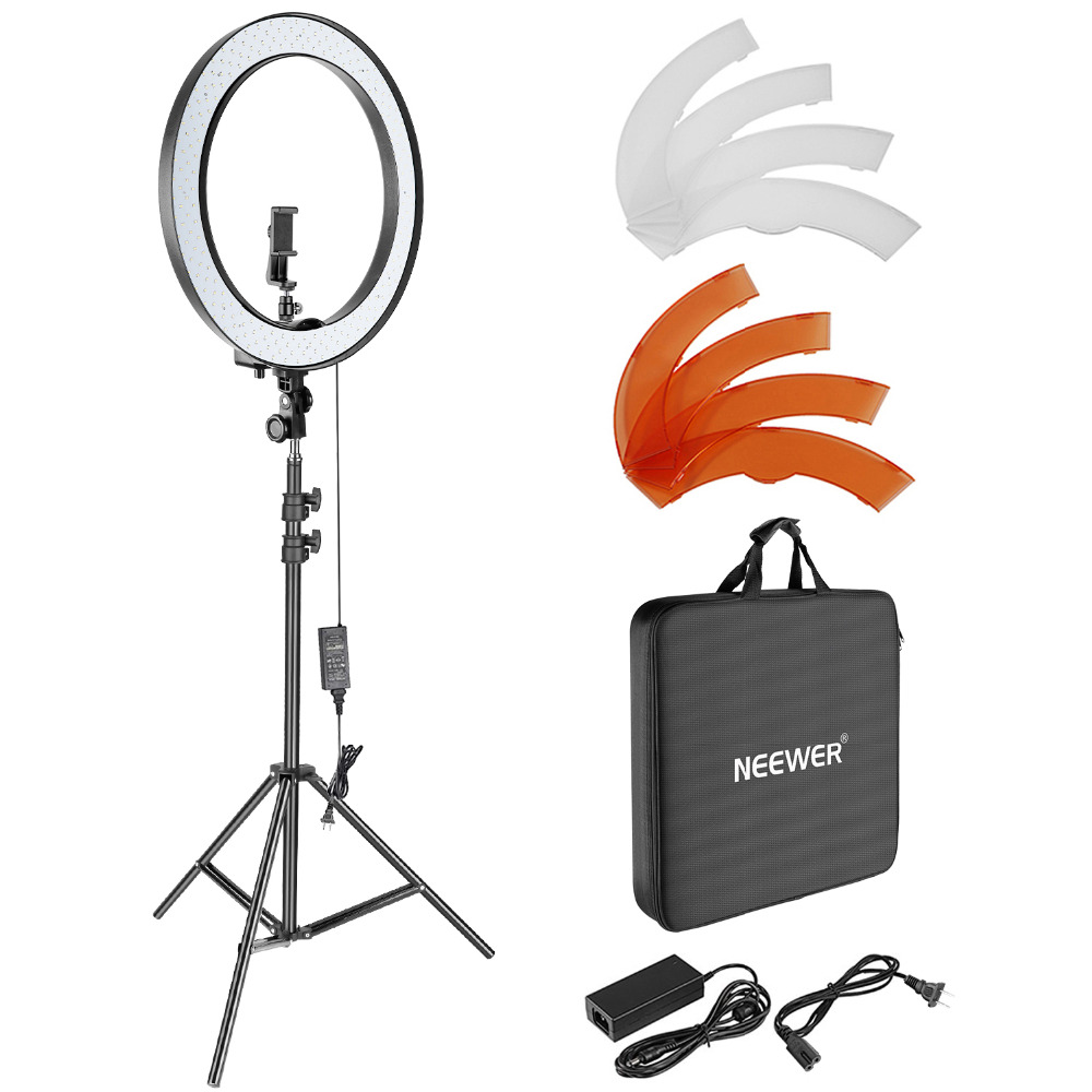 Neewer 18-inch Outer Dimmable SMD LED Ring Light Lighting Kit with 78.7-inch Light Stand Rotatable Phone Holder Hot Shoe Adapter