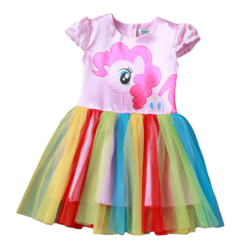 CNJiaYun Baby Girl Dress Children little Pony Girls Dresses Cartoon Princess Party Costume Dress Kids Clothes Summer Clothing