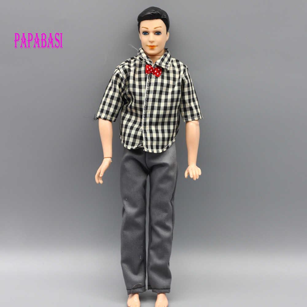 1 pc Ken Roupa Da Boneca Roupas de Boneca Terno Casual Wear Plaid Calças Jaqueta Roupas Para Barbie Ken Bonecas Acessórios