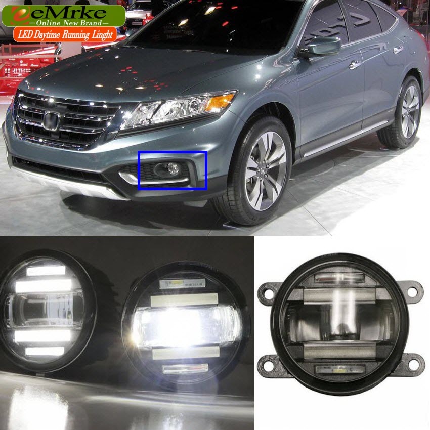 eeMrke Car Styling For Honda Accord Crosstour 2014 2015 2 in 1 LED Fog Light Lamp DRL With Lens Daytime Running Lights eemrke car styling for ford explorer 2013 2014 2015 2 in 1 led fog light lamp drl with lens daytime running lights