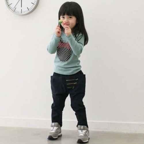 ילדים חדשים פעוטות ילדה ארוך שרוול חולצות לפעוטות בגדי בנות מנוקדת ארוך שרוול מזדמן T חולצה חולצה חולצות