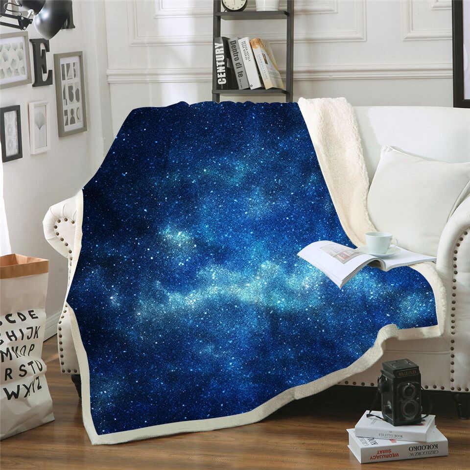Новый 2019 синий Galaxy печатных бархатные плюшевые откидное покрывало для маленьких девочек диван одеяло на искусственном меху диване Стёганое одеяло Дорожный Чехол