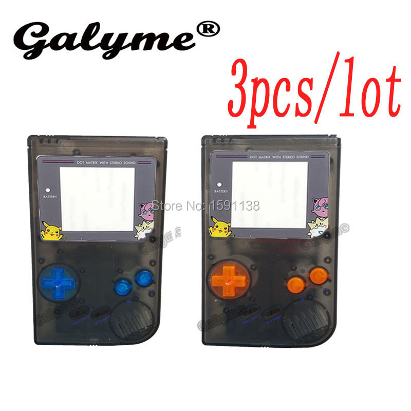 3pcs/lot Brand New Clear Black Color Housing Shell Case Fit For GameboyGB Classic Fit For DMG-001 GBO Game Console Limited Lens