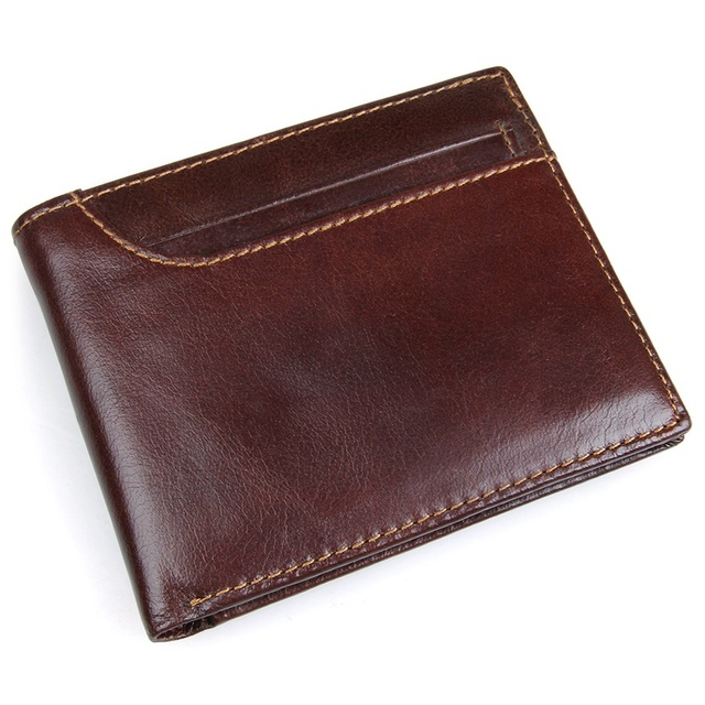 JMD Cuero Genuino Caja de Tarjeta RFID Bloqueo Carpeta del Cuero Genuino Para Hombre Titular de la Tarjeta ID R-8104Q