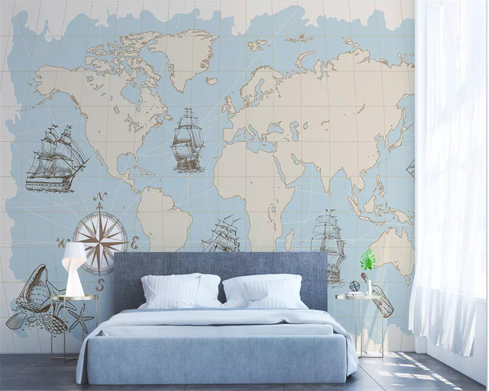 beibehang Custom Any Size Mural Wallpaper 3D Nautical world map mural Living Room Office Study Interior decoration 3d Wallpaper in Wallpapers from Home Improvement