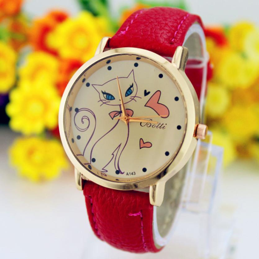 Fashion 2018 Watch Luxury Crystal Lovely and elegant Fashion Women Faux Leather Strap Band Analog Quartz Wrist Watch Cat все цены