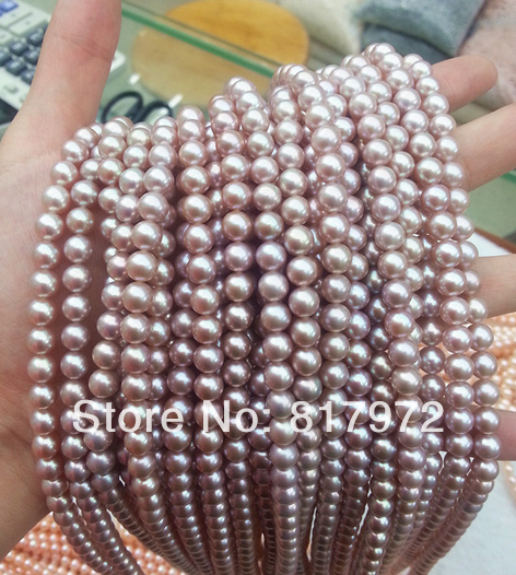 Wholesale Top Real pearl Round Bead Purple Natural highlight Fashion pearl 37cm Length Loose Beads women Jewelry Party Gift