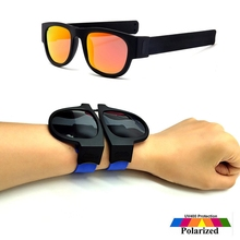 Fashion Colorful Slap Polarized Sunglasses Women Slappable Bracelet Men Luxury Wristband Festival Folding Sunglass Lady Q201