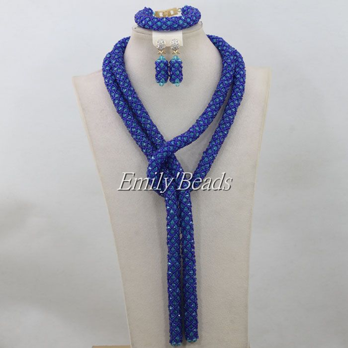 2016 Latest Nigerian Party Beads Jewelry Set Royal Blue Sand Beads ...