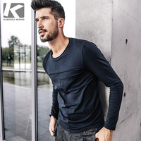 KUEGOU New Autumn Mens Casual T Shirts Patchwork Blue Color Brand Clothing For Man S Long