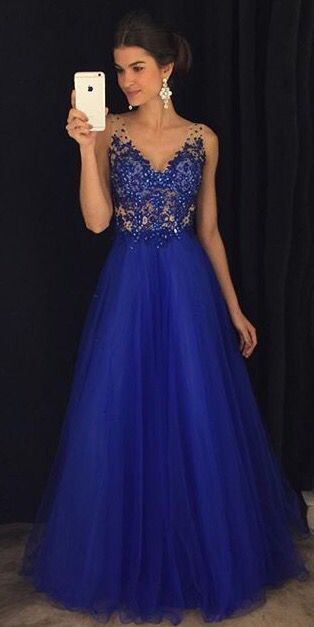 New Style Royal Blue   Prom     Dress   Long A-line V-neck Tulle Evening Women Party Gown Sleeveless