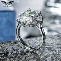 14 천개 화이트 골드 솔리테어 링 에메랄드 컷 모이 사 나이트 다이아몬드 반지 웨딩