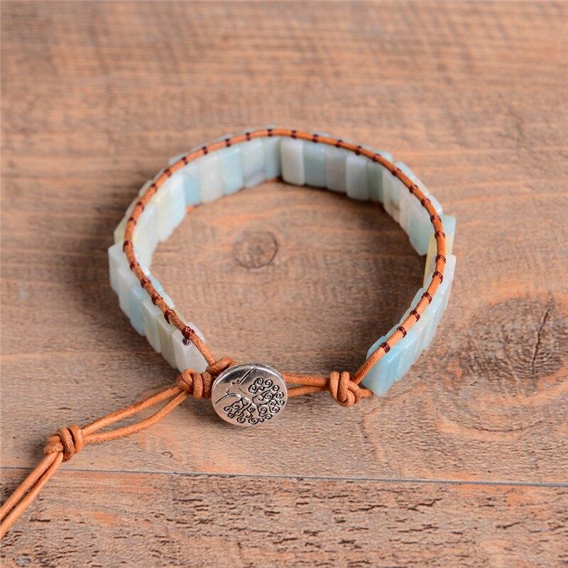 Amazonite Stone Leather Wrap Bracelet