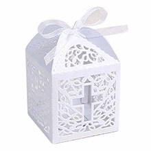 5pcs white Cross candy box gift bag Christening Baptism Baby boy girl religion church wedding First Communion decoration favor