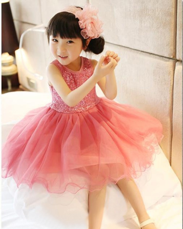 2017 Summer Style Fashion princess dress Pink Tulle Girls Dress Sequins Lace Top Grace Classic Kids party Dress Children ...