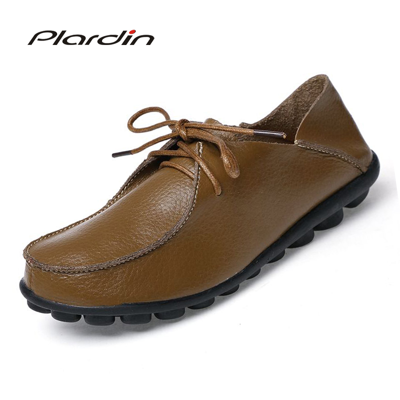 plardin 2018 Women lace up Genuine Leather Shoes round toe Comfortable Breathable Casual Comfortable Platform Shoes Female Flats