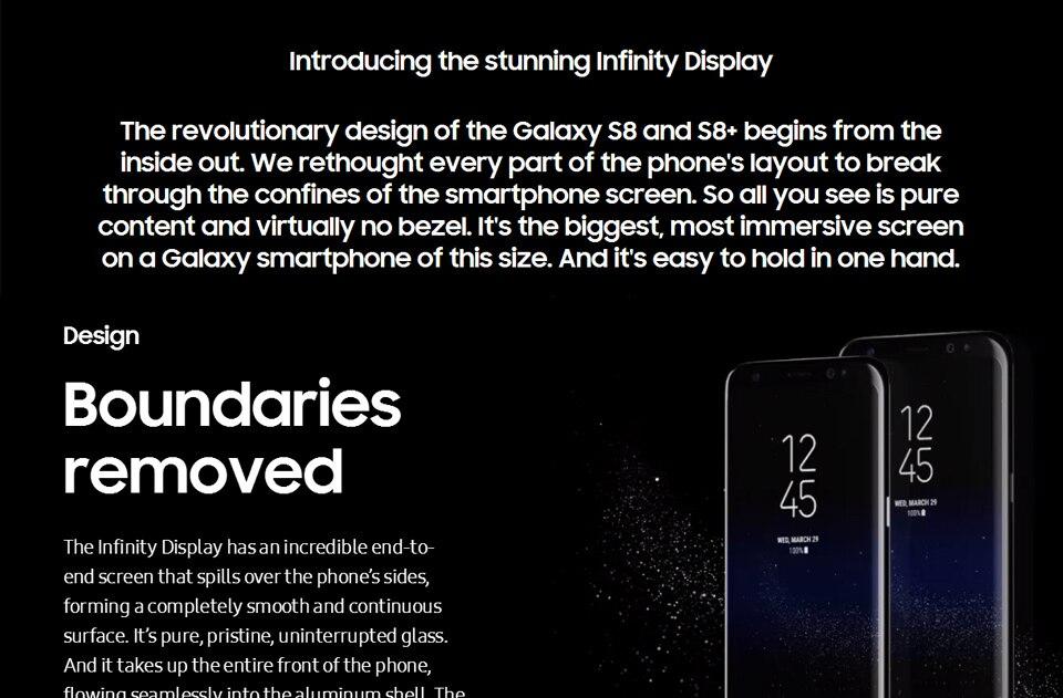 Original Samsung Galaxy S8+ S8 plus  6.2'' 12.0MP 4G RAM 64G ROM 4G LTE Octa c 4g+64g(single sim) 4