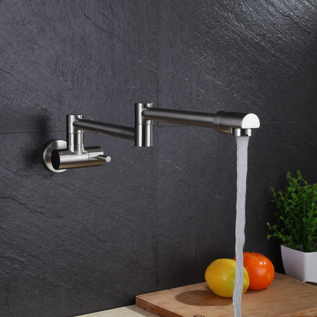 Brushed Copper Single Cold Folding Wall Mounted Basin Faucet Washroom Bathroom Tap Outdoor Sink Faucets Rotating Swivel Spout